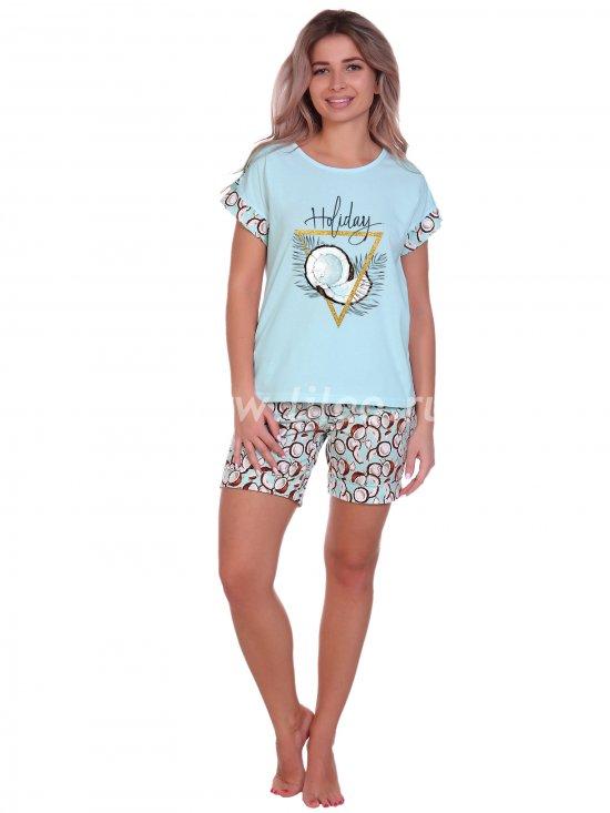 Пижама с принтом кокоса, Голубой