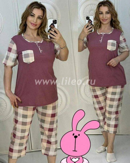 Пижама женская: футболка и бриджи, Бордовый