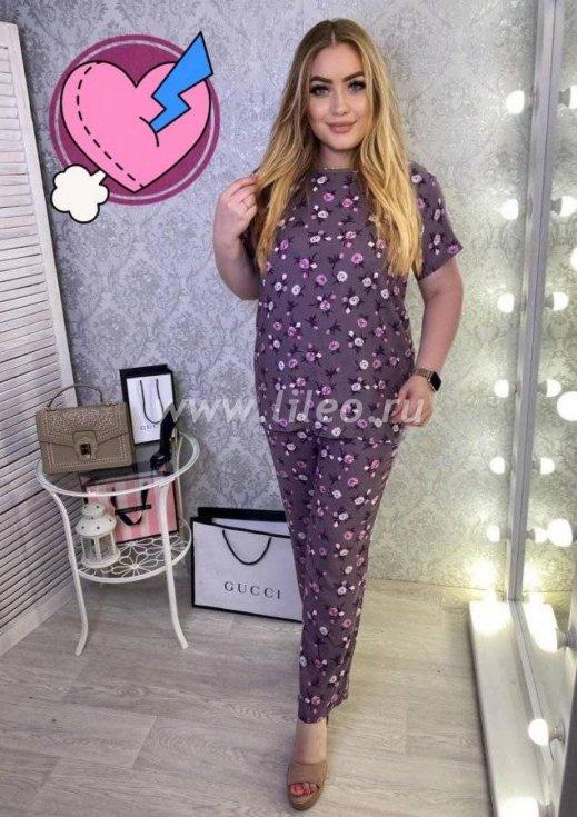 Костюм женский: футболка и штаны, Вересково-фиолетовый