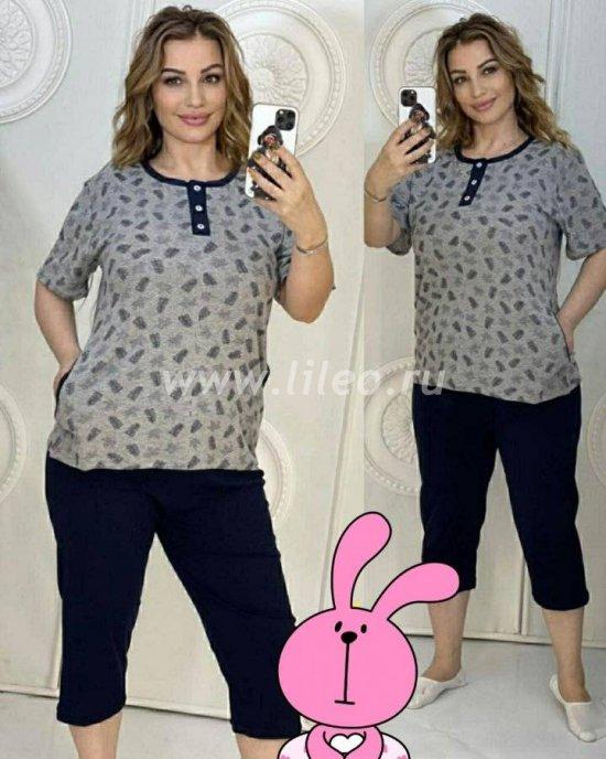 Пижама: футболка и бриджи, Темно-серый