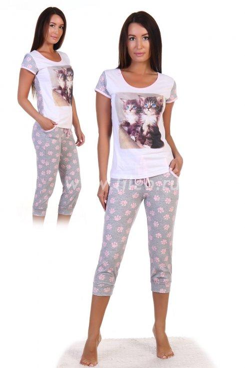 Пижама , Серый c розовым